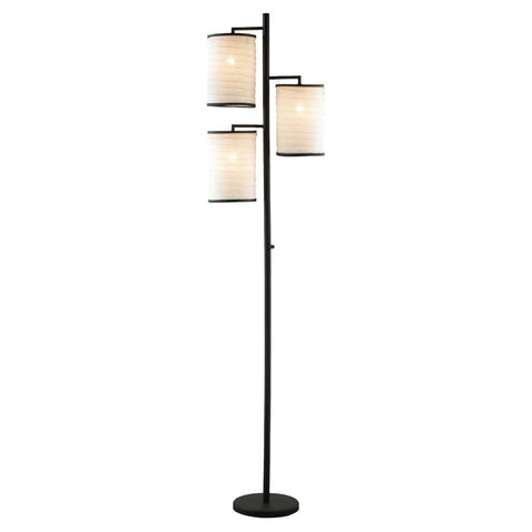 Modern Japanese Style 3-Light Tree Floor Lamp with Cotton Shades-Lighting > Floor Lamps-Loluxe