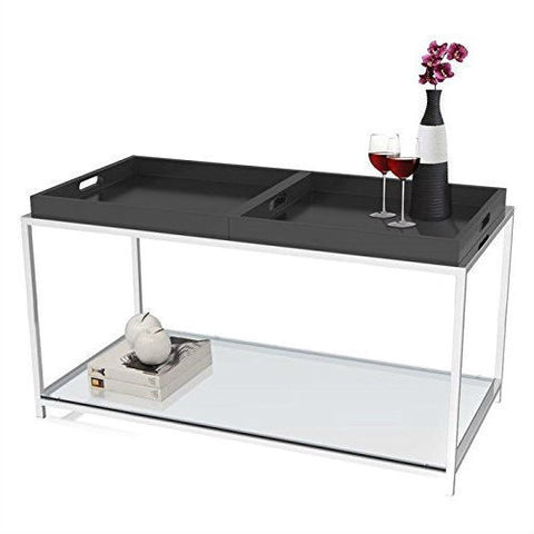 Modern Metal Coffee Table with 2 Removable Trays in Black-Living Room > Coffee Tables-Loluxe