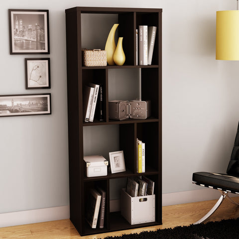 Modern Narrow Bookcase with 4 Shelves in Chocolate Finish-Living Room > Bookcases-Loluxe