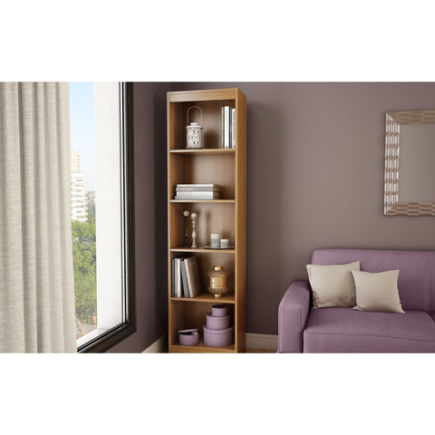 Modern Narrow Bookcase with 5-Shelves in Morgan Cherry Finish-Living Room > Bookcases-Loluxe