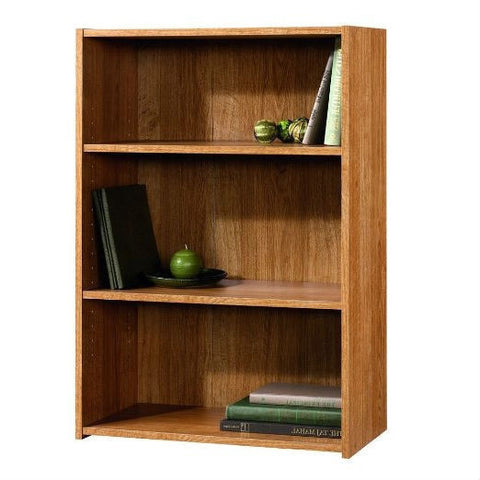 Modern Oak Finish 3-Shelf Bookcase with 2 Adjustable Shelves - Made in USA-Living Room > Bookcases-Loluxe