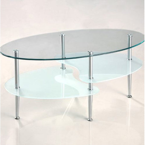 Modern Oval Glass Coffee Table with Chrome Metal Legs-Living Room > Coffee Tables-Loluxe