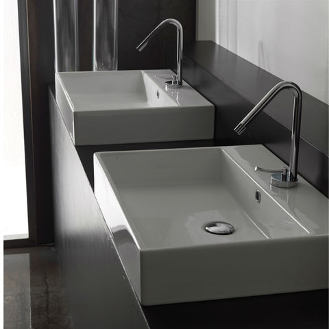 Modern Rectangular Ceramic Vessel Bathroom Vanity Sink with Single Hole-Bathroom > Bathroom Sinks-Loluxe