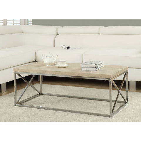 Modern Rectangular Coffee Table with Natural Wood Top and Metal Legs-Living Room > Coffee Tables-Loluxe