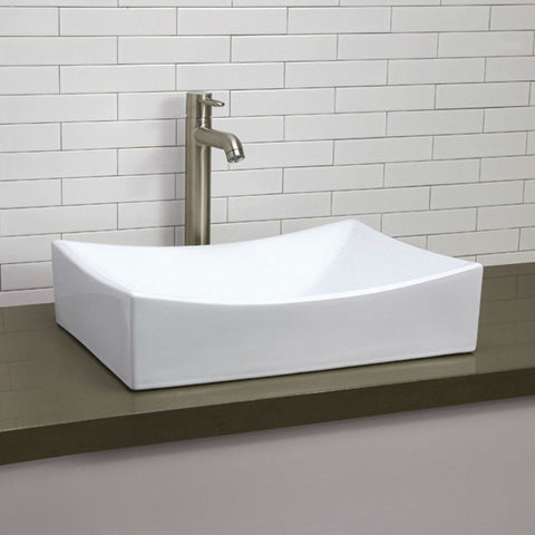 Modern Rectangular White Ceramic Vessel Bathroom Sink with Curved Interior-Bathroom > Bathroom Sinks-Loluxe