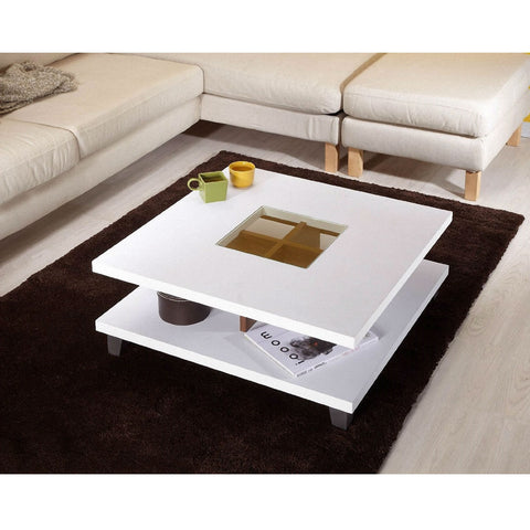 Modern Square Coffee Table in White Wood Finish with Bottom Shelf-Living Room > Coffee Tables-Loluxe