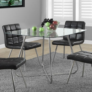 Modern Square Dining Table 40 x 40-inch with Tempered Glass Top-Dining > Dining Tables-Loluxe