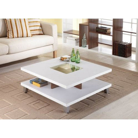 Modern Square Wood Coffee Table with Center with Glass Inlaid-Living Room > Coffee Tables-Loluxe