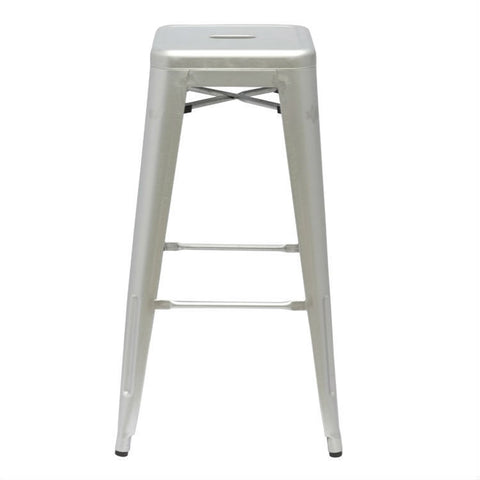 Modern Stacking Bar Stool in Gunmetal Galvanized Steel Stackable Indoor Outdoor Barstool-Dining > Barstools-Loluxe