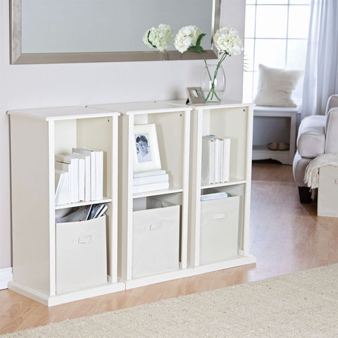 Modern Stacking Storage Unit Vertical Bookcase Bookshelf in Vanilla White Finish-Living Room > Bookcases-Loluxe
