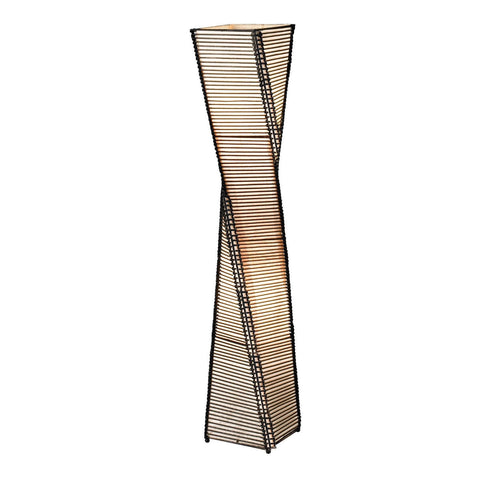 Modern Twist Sculpture Style Floor Lamp Lantern with Beige Shade-Lighting > Floor Lamps-Loluxe