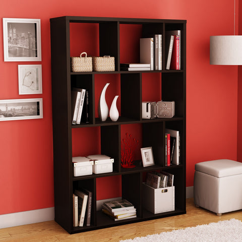 Modern Wall Revealing 4-Shelf Bookcase in Chocolate Finish-Living Room > Bookcases-Loluxe