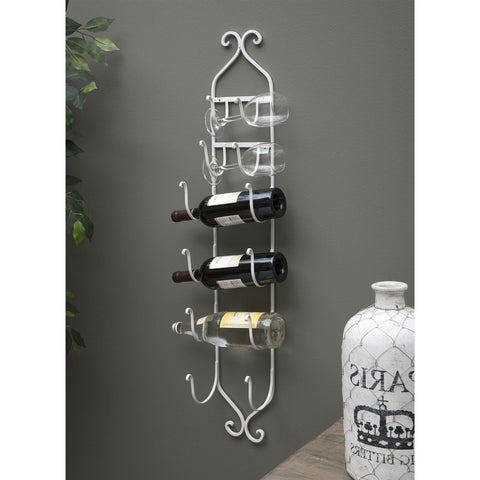 Modern White Metal Wall Mounted Wine Rack-Kitchen > Wine Racks and Coolers-Loluxe