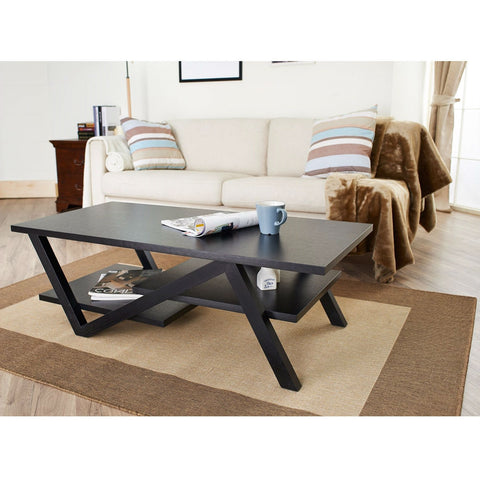 Modern Z-Shape Coffee Table in Black Wood Finish-Living Room > Coffee Tables-Loluxe
