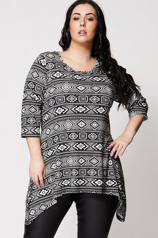 Monochrome Ethnic Print Top-Plus Sizes-Loluxe