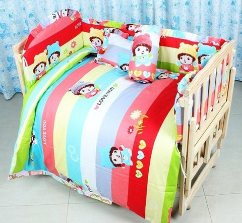 Multicolor 100% Cotton 7-PC 100% Cotton Baby Nursery Bedding Set-Loluxe