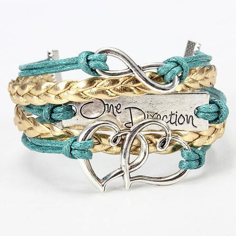 Multicolor One Direction Infinity Heart Braided Leather Bracelet-Loluxe