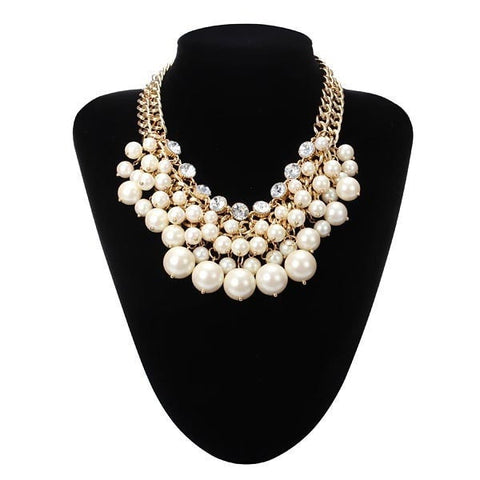 Multilayer Pearl Bead Crystal Collar Necklace Gold Plated Chain-Loluxe