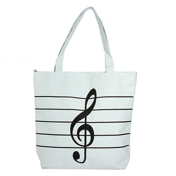 Musical Note Canvas Shopping Tote-Handbags-Loluxe