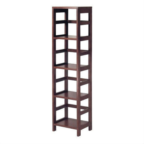 Narrow 4-Shelf Contemporary Shelving Unit in Espresso Wood Finish-Accents > Shelving Units-Loluxe