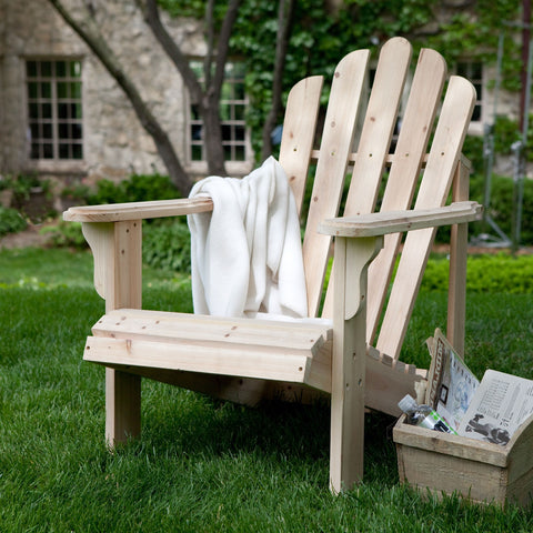 Natural Asian Fir Unfinished Wood Adirondack Chair with Contoured Seat and Wide Armrests-Outdoor > Outdoor Furniture > Adirondack Chairs-Loluxe