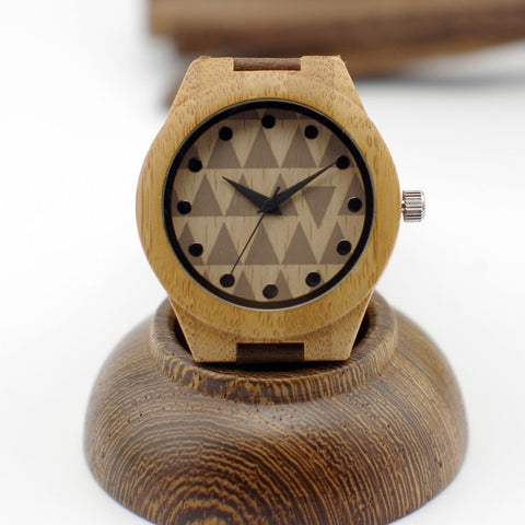 Natural Bamboo Wood Watches With Genuine Cowhide Leather Bands-Loluxe