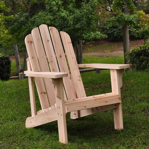 Natural Cedar Wood Adirondack Chair-Outdoor > Outdoor Furniture > Adirondack Chairs-Loluxe