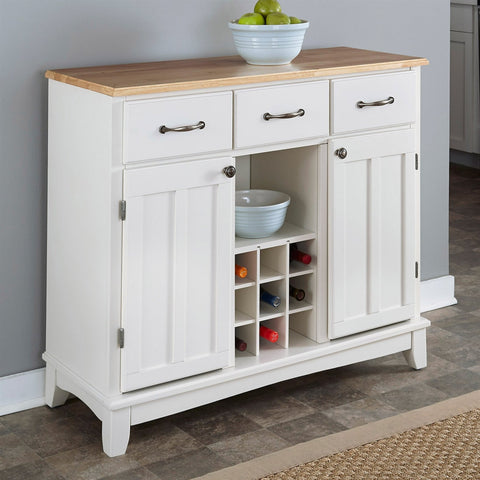 Natural Wood Top Kitchen Island Sideboard Cabinet Wine Rack in White-Dining > Sideboards & Buffets-Loluxe