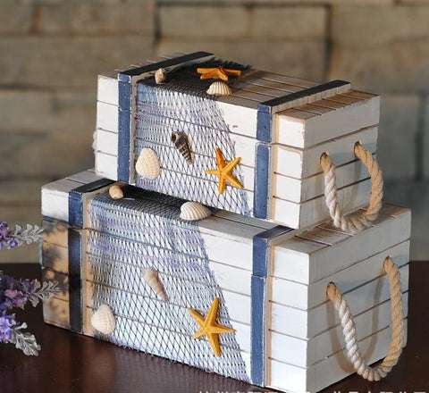 Nautical Beach 2-PC Decorative Wood Lobster Trap Storage Box Set-Loluxe