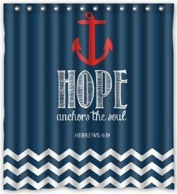 "Nautical Navy Chevron Hope Anchor 60 x 72"" Waterproof Fabric Shower Curtain (Hooks Included)-Loluxe"
