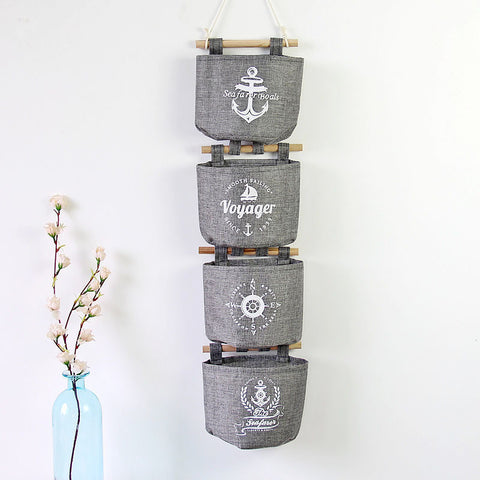Nautical-Print Grey 4-PC Wall-Hanging Storage Sack Set-Loluxe