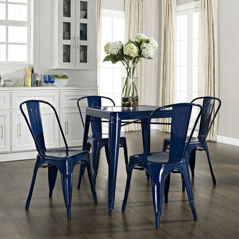 Navy Blue Modern Classic French Cafe Style Metal Dining Table-Dining > Dining Tables-Loluxe
