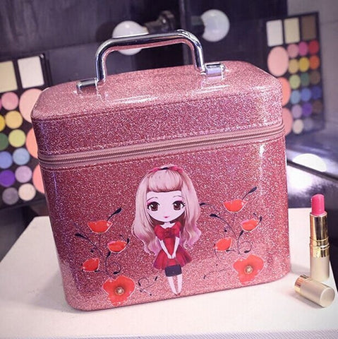 NEW 2016 Popular Style Shiny PU Leather Cartoon Girl Portable Travel Makeup Vanity Case 5 Colors 2 Sizes-Loluxe