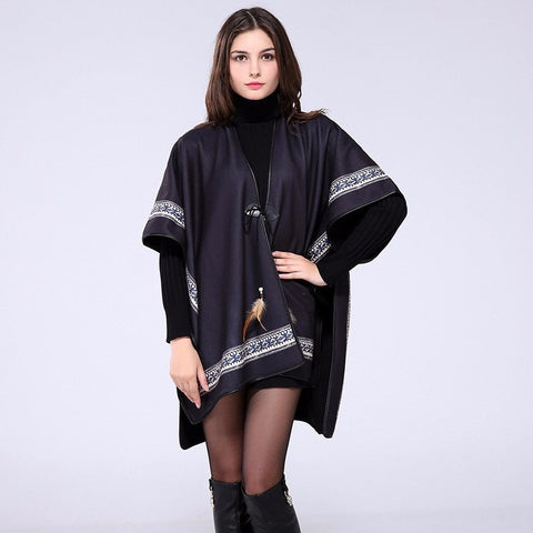 NEW 2016 Warm Cashmere Winter Fashion Poncho Shawl Scarf 10 Designs-Loluxe