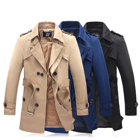 NEW Arrival! Men's Slim-Fit Quality Belted Double-Breast Fashion Trench Coat M-6XL 3 Colors-Loluxe