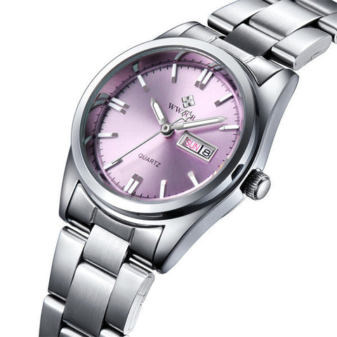 New Brand Date Day Female Stainless Steel Ladies Fashion Casual Watch-Loluxe