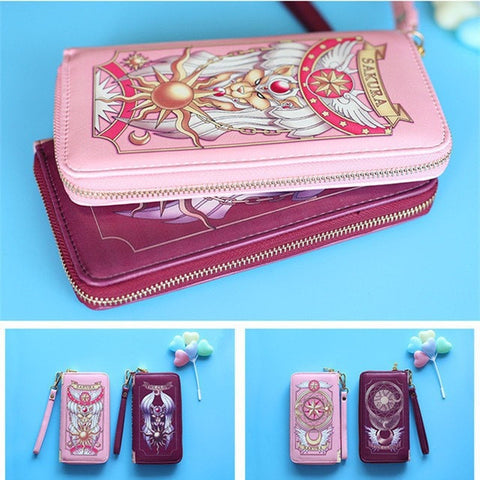 NEW Cosplay Anime Card Sakura Fashion Ladies Cellphone Wallet Case Pouch for Apple iPhone 6S 6 Plus - Pink or Red-Loluxe