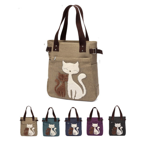 NEW Cute Canvas Kitty Embroidered Print Shoulder Diaper Bag 7 Colors-Loluxe