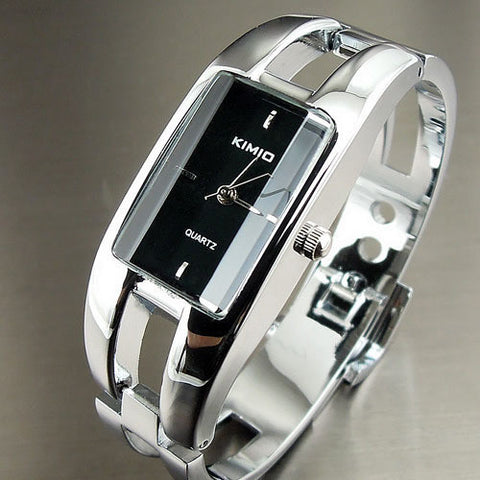 NEW ELEGANT STYLISH STAINLESS STEEL QUARTZ LADY BANGLE WRIST WATCH-Loluxe