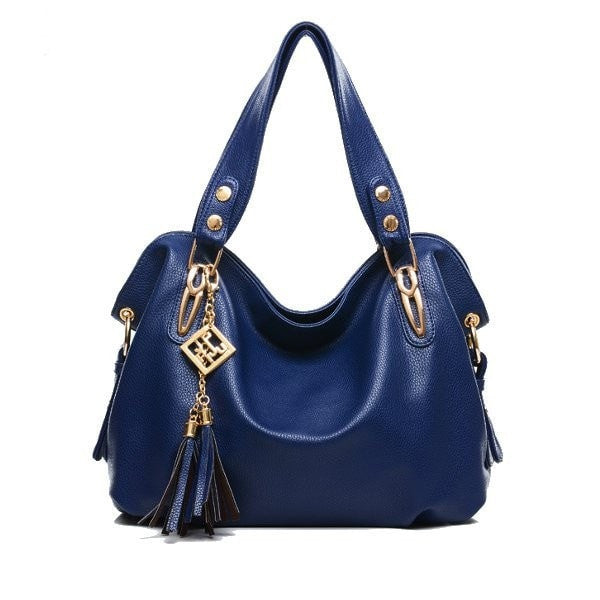 New Fashion PU Leather Handbag Tassel Bag Lady Handbag Shoulder Bag-Handbags-Loluxe