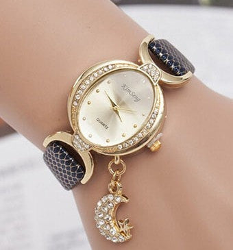 New Fashion Women Lady Heart Pendant Leather Dress Watch-Loluxe
