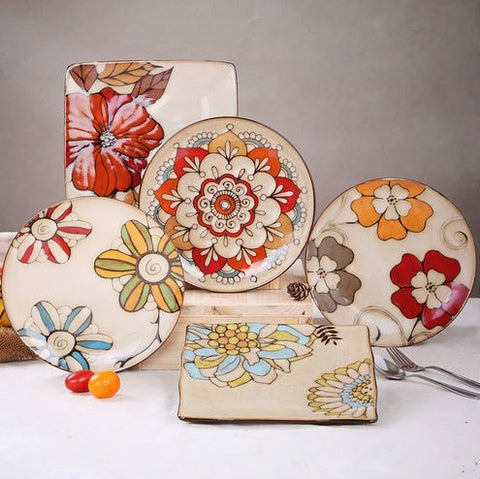 NEW Hand Painted Retro Style Floral Pattern Dinnerware 5 Style Options-Loluxe