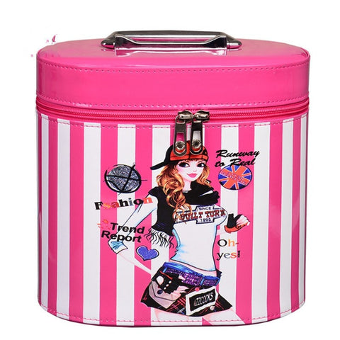NEW Ladies PU Leather Color Stripes Bucket Style Portable Makeup Vanity Case 2 Sizes Several Colors-Loluxe