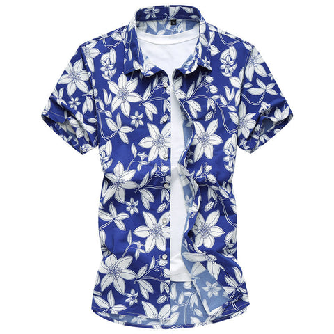 NEW Men's Summer Casual Island Fashion Short-Sleeve Shirt M-7XL 2 Colors-Loluxe