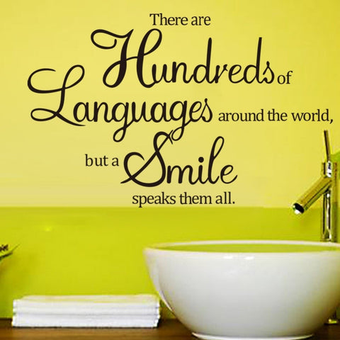 NEW Smile the Universal Language Vinyl Wall Decals Decor-Loluxe