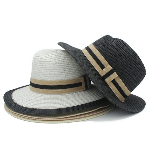 NEW Unisex Fashion Stripe Band Wide-Brim Panama Summer Beach Hat 5 Colors-Loluxe