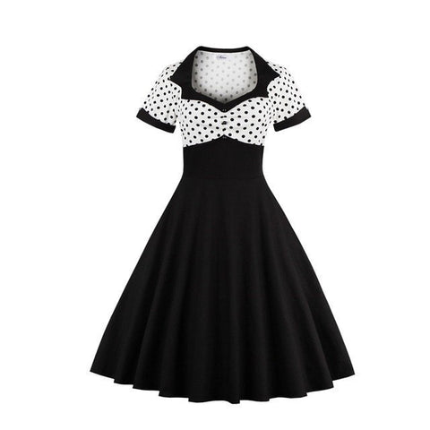 NEW Vintage-Style Polka Dot High-Waist Swing Party Women's Dress S-4XL-Loluxe