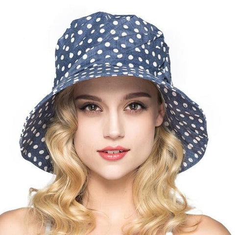 NEW Women's Fashion Polka Dot Wide-Brim Floppy Summer Beach Bucket Hat 5 Colors-Loluxe