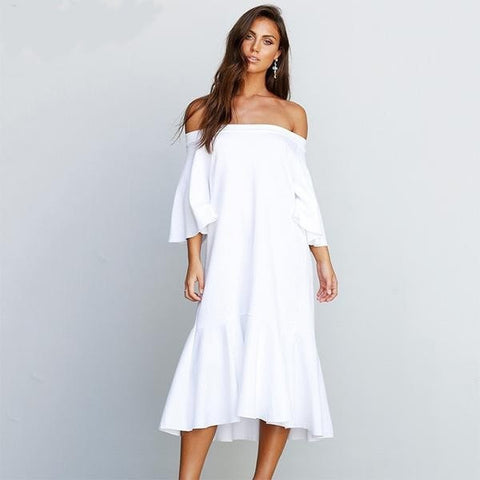 NEW Women's White Off-Shoulder Romantic Casual Summer Dress S-L-Loluxe