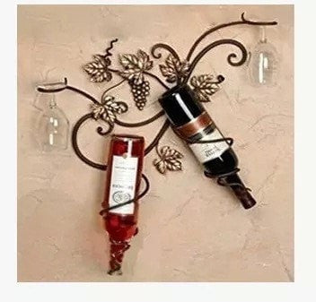 NEW Wrought Iron Elegant Grape Vine 2 Wine Bottle Holder Wall Decor-Kitchen > Wine Racks and Coolers-Loluxe